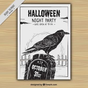 Volantino di halloween con il corvo e la tomba disegnata a mano