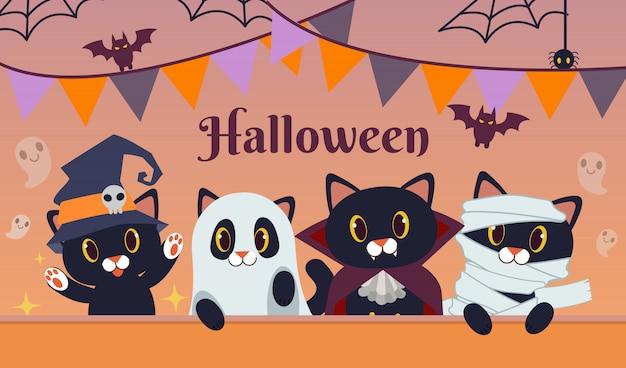 La festa di halloween per un gruppo di amici di gatto nero indossa un costume fantasy.
