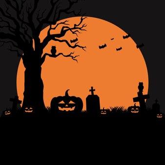 Festa di halloween. modello di poster di vacanza. vettore di concetto di sagoma. design piatto illutration
