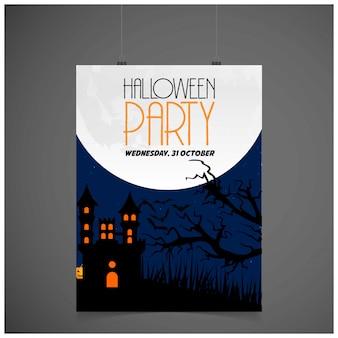 Scheda dell'invito del partito di halloween con il vettore di disegno creativo