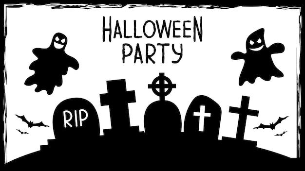 Inviti per feste di halloween o banner di biglietti di auguri con simboli tradizionali di halloween. volantino con posto per campione di testo con texture in una semplice cornice grunge. illustrazione vettoriale in bianco e nero.