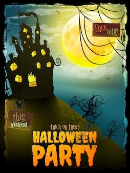 Festa di halloween notte con casa stregata. Vettore Premium