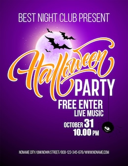 Manifesto della festa di halloween con pipistrelli volanti e luna gialla eps10