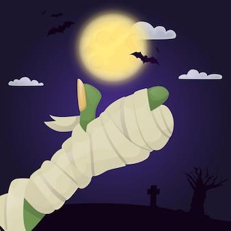 Manifesto del partito di halloween con l'illustrazione di vettore del carattere spettrale della mano di zombie spaventoso. biglietto d'invito horror notturno. mistero dolcetto o scherzetto fantasma fantasma. parte del corpo di persone spaventose.