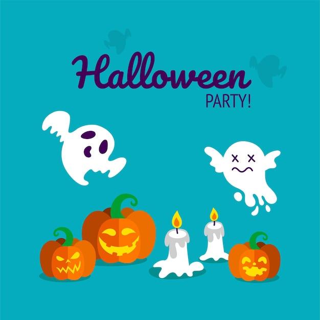 Stampa festa di halloween con zucche intagliate, candele e fantasmi spettrali. illustrazione vettoriale in sfondo blu