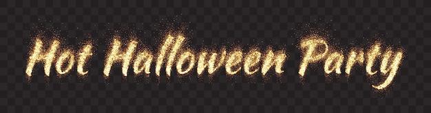 Testo di festa di halloween luminoso fiammeggiante incandescente lettering