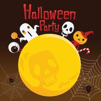 Festa di halloween con i fantasmi sulla luna piena