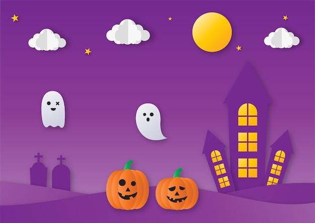 Festa di halloween con fantasmi e stile di arte carta zucca su sfondo viola.