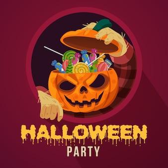 Festa di halloween con la testa di zucca piena di caramelle