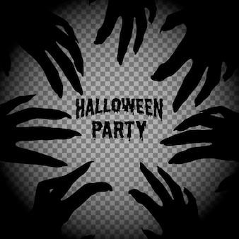 Festa di halloween, mani di zombie. cornice quadrata con sagoma di mani di mostri.