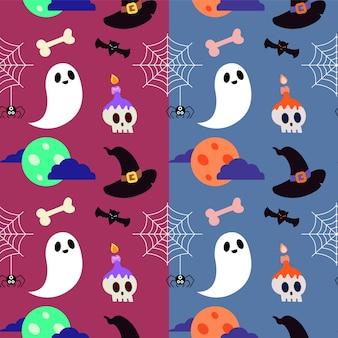 Modello di halloween con fantasma e teschio