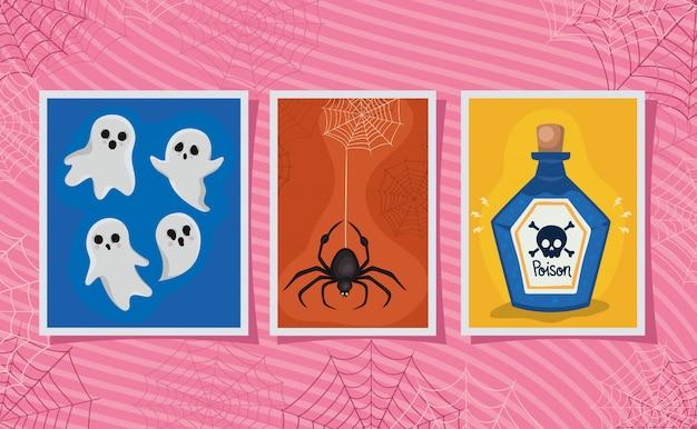 Halloween veleno ragno e fantasmi cartoni animati in design di cornici, vacanze e tema spaventoso