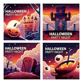 Halloween post feed collezione di modelli di social media spooky castle