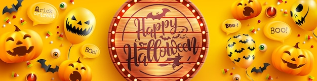Modello di poster e banner di halloween con zucca di halloween carino e palloncini fantasma su sfondo giallo. sito web spettrale, sfondo o banner modello di halloween
