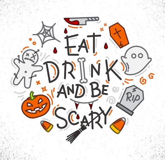 Poster di halloween piatta