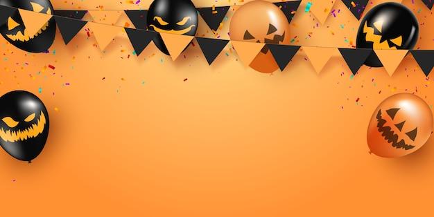 Poster di halloween con palloncini fantasma di halloween su sfondo arancione. palloncini d'aria spaventosi modello di sito web spettrale o banner.