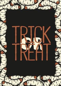 Poster di halloween con verme o verme cattivo e bruco disgustoso per il design di halloween