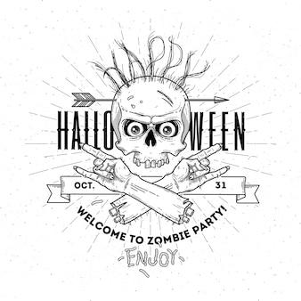 Manifesto di halloween con la testa e la mano di zombie - illustrazione di arte di linea
