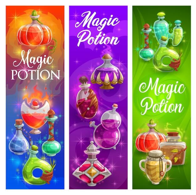 Manifesti di halloween con bottiglie di pozioni magiche streghe