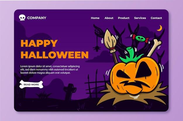 Modello di pagina di destinazione della zucca di halloween