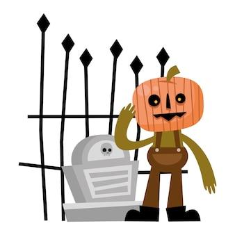 Fumetto della zucca di halloween con tomba, vacanza felice e spaventoso