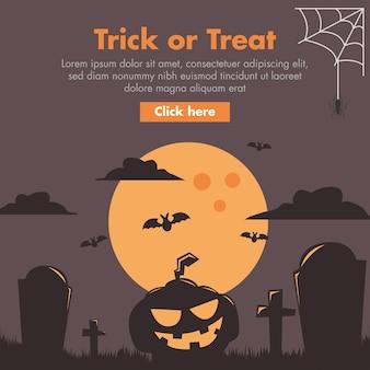 Illustrazione piana di progettazione della zucca e del cimitero di halloween