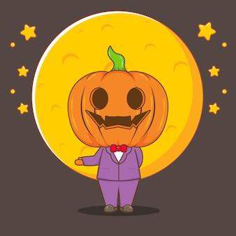 Illustrazione del fumetto del costume della zucca di halloween