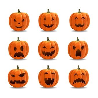 Insieme dell'emoticon della zucca di halloween