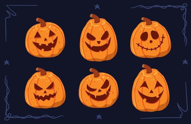 Insieme dell'illustrazione del fronte della zucca di halloween