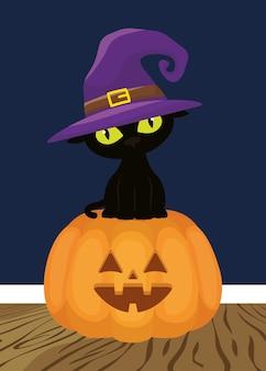 Faccia di zucca di halloween con gatto nero che indossa il cappello della strega
