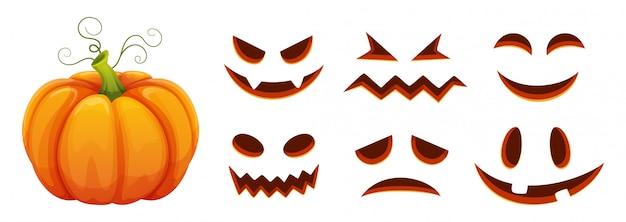 Generatore di facce di zucca di halloween. zucca di cartone animato con facce spaventate e sorridenti