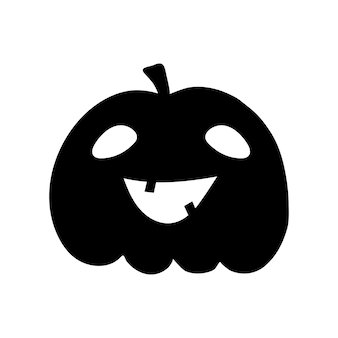 Zucca di halloween clipart piatto, illustrazione stock vettoriale. sagoma nera disegnata a mano per l'arredamento