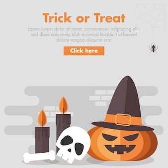 Illustrazione di design piatto zucca di halloween