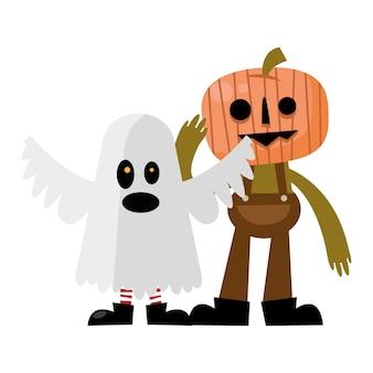 Fumetto della zucca e del fantasma di halloween, vacanza felice e spaventoso