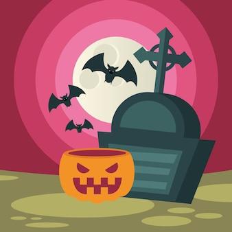 Zucca di halloween e tomba con pipistrelli, vacanze e illustrazione spaventosa