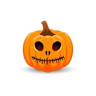 Zucca di halloween il simbolo principale della felice festa di halloween zucca arancione spaventosa con un sorriso