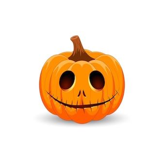 Zucca di halloween il simbolo principale della felice festa di halloween zucca arancione spaventosa con un sorriso Vettore Premium