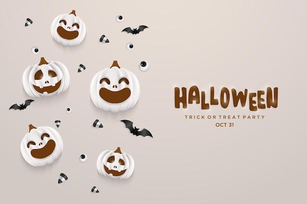 Festa della zucca di halloween con pipistrelli sparsi