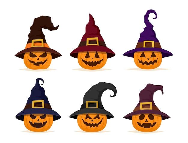 Set di zucche di halloween collezione di zucca jack o lantern con cappello da strega illustrazione vettoriale