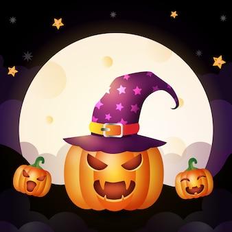 La zucca di halloween con il cappello della strega sta sul fronte a terra della luna