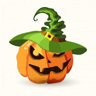Zucca di halloween che porta il cappello della strega verde