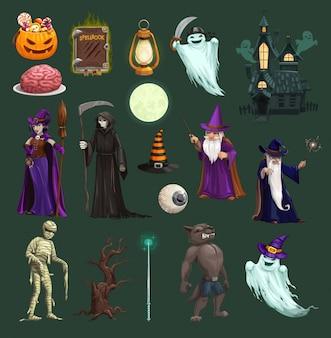 Zucca di halloween, strega, fantasma, caramelle e teschio