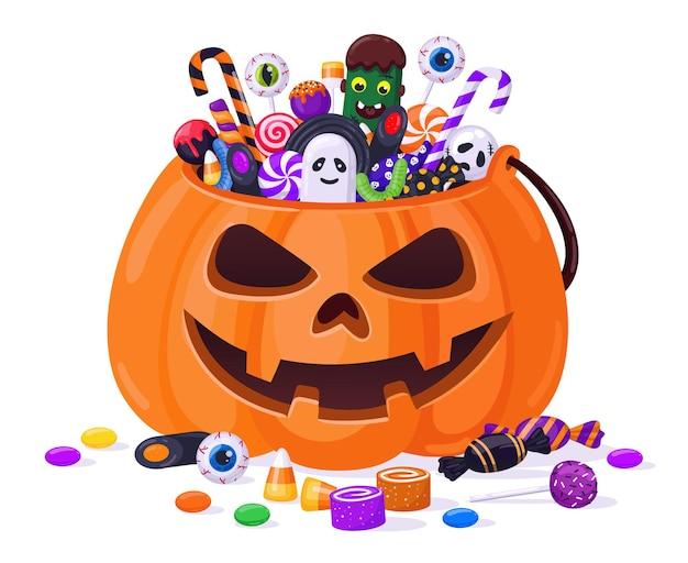 Zucca di halloween con caramelle. canestro della zucca dei dolci del fumetto, lecca-lecca, dolcetti di gelatina e illustrazione di vettore del bastoncino di zucchero. borsa dolcetto o scherzetto alla zucca. zucca di halloween, lecca-lecca e caramelle
