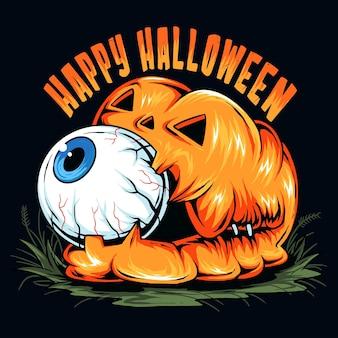 Zucca di halloween con un simpatico bulbo oculare in bocca vettore d'arte