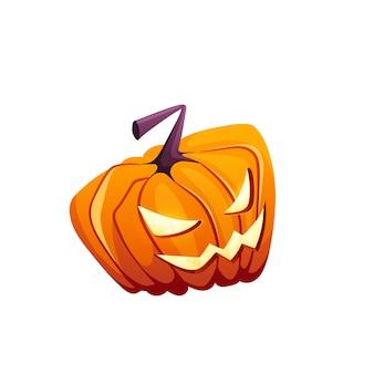 Zucca di halloween con felice faccia spaventosa su sfondo bianco isolato per il tuo design