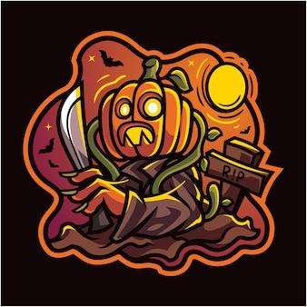 Zucca di halloween con mascotte esport coltello