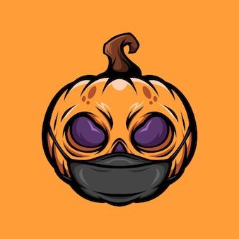 Zucca di halloween con illustrazione della maschera