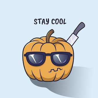 Zucca di halloween con occhiali da sole