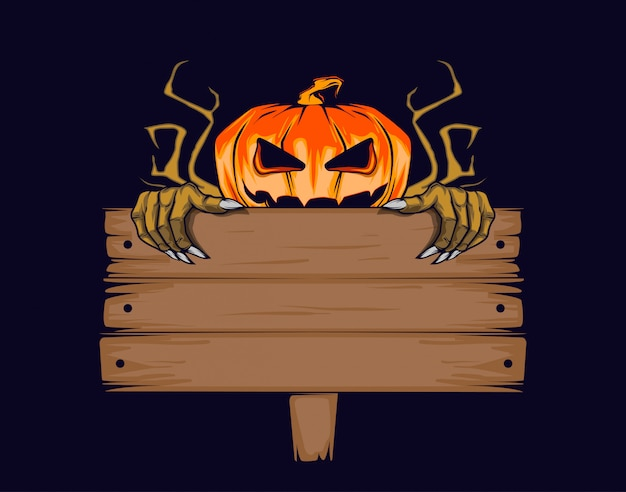 Zucca di halloween con tavoletta per l'iscrizione.