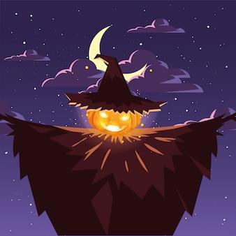 Zucca di halloween con il cappello della strega nella scena del cimitero